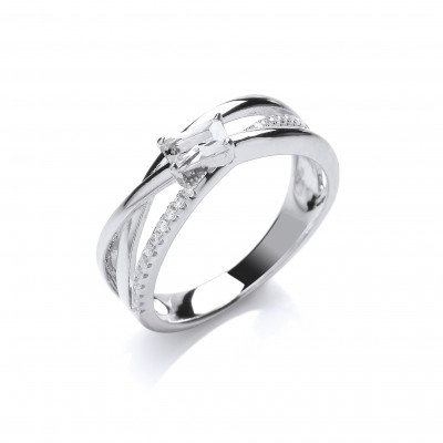 Silver and Cubic Zirconia Twist Band Ring