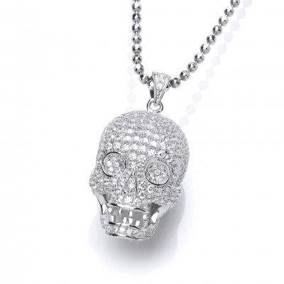 CZ Encrusted Skull Pendant