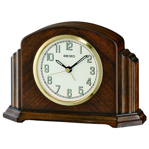 Seiko Wooden Mantel Alarm Clock QXE043B