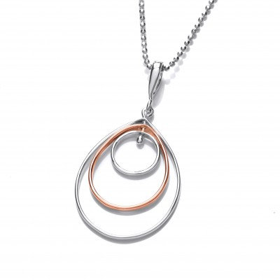 Silver and Copper Teardrop Movement Pendant without Chain