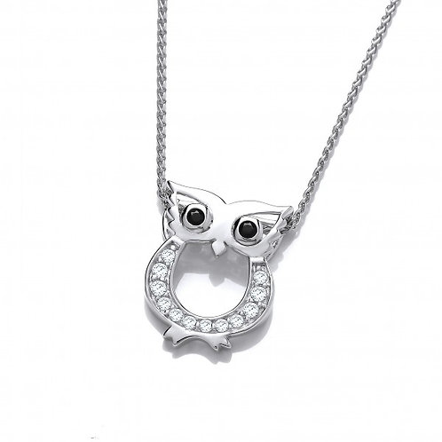 Cute CZ Owl Pendant without Chain