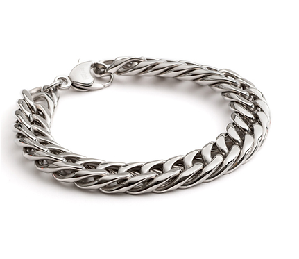 """8.5"""" Stainless Steel Hollow Curb Bracelet"""