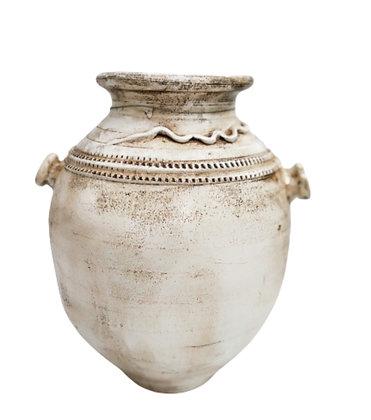 Amphora White Vase Clay Pot 55cm