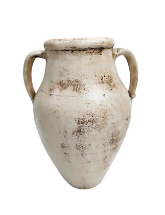 Amphora White Vase Clay Pot 30cm