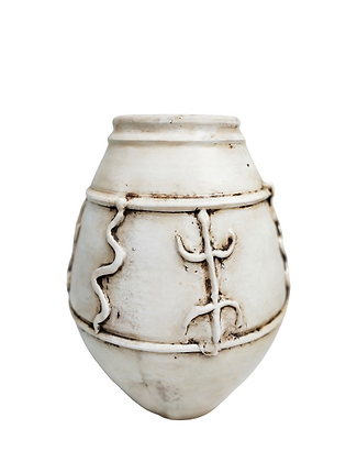 Amphora White Vase Clay Pot 55cm