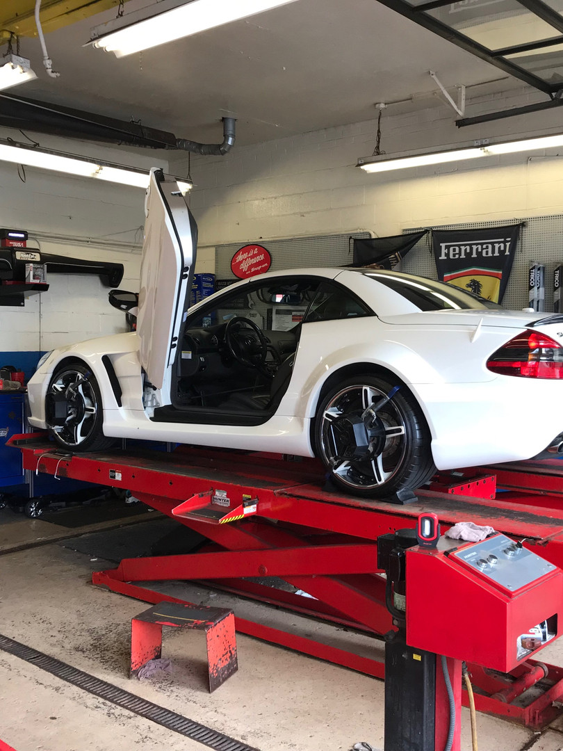 Mercedes coming in for a laser wheel alignment