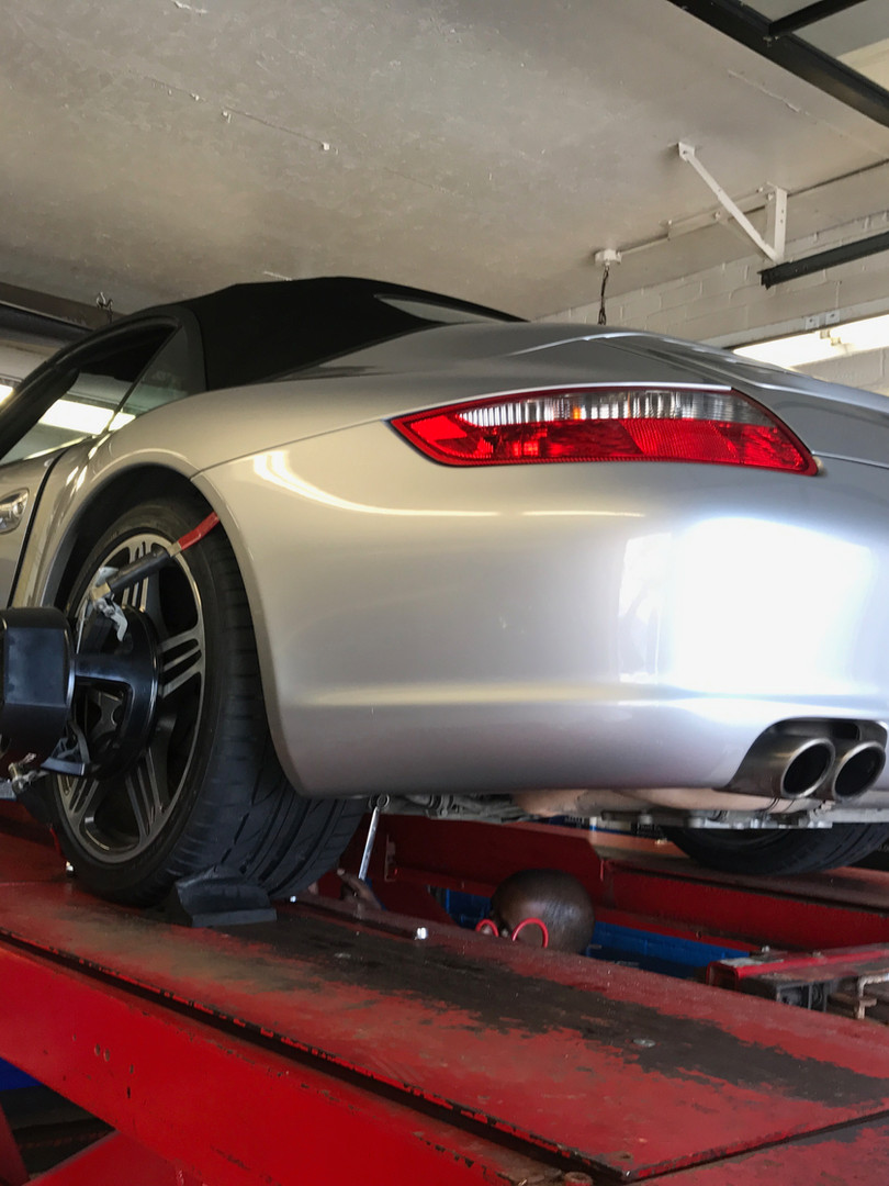 Porsche came in for a Hawkeye Laser Wheel Alignment