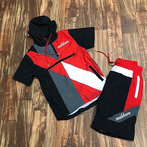 Red/Grey/Black Windbreaker Set