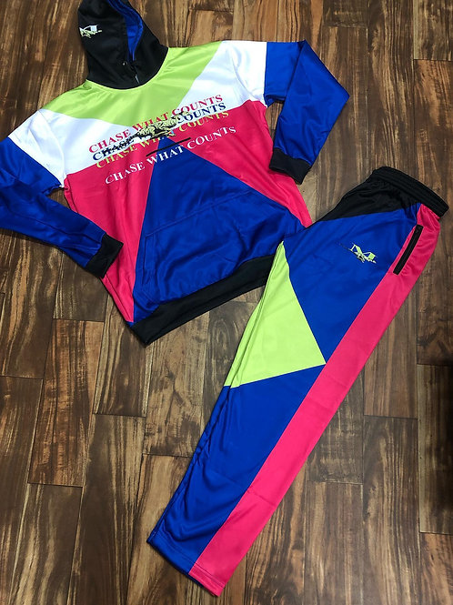 RUNNING CHEETAH TRACKSUIT - LIME/NAVY/FUSHIA