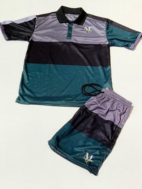 F. Green/Grey/Black- Men's Collared Striped Short Set
