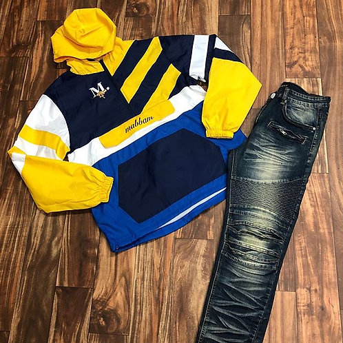 Yellow/Navy/Royal Blue Windbreaker