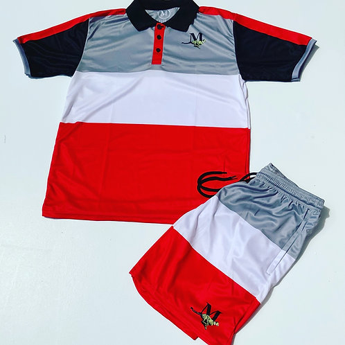 RED/BLACK/WHITE - Men's Collared Striped Short Set