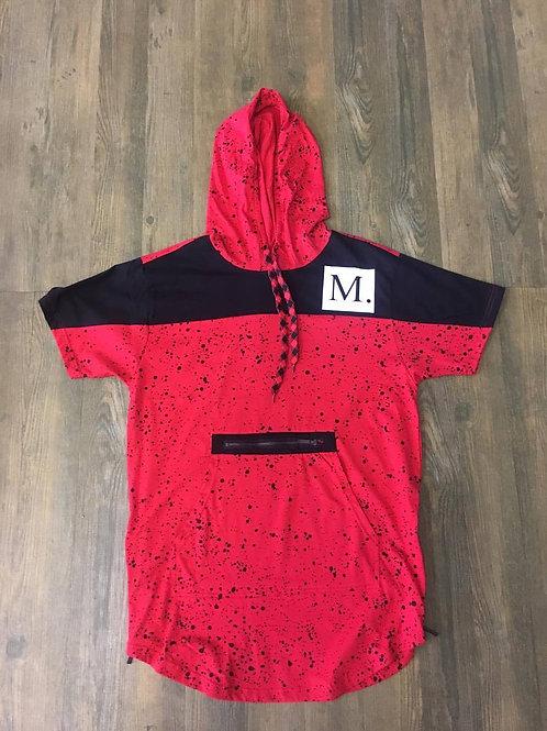 Red & Black Short Sleeve Hoodie