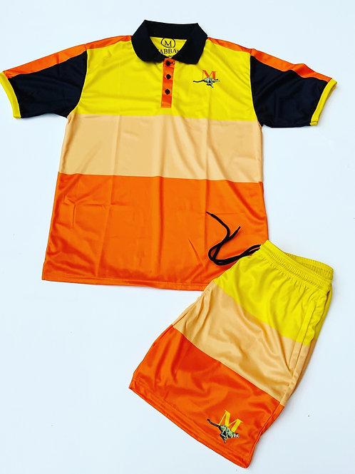 Orange/Yellow/Black- Men's Collared Striped Short Set