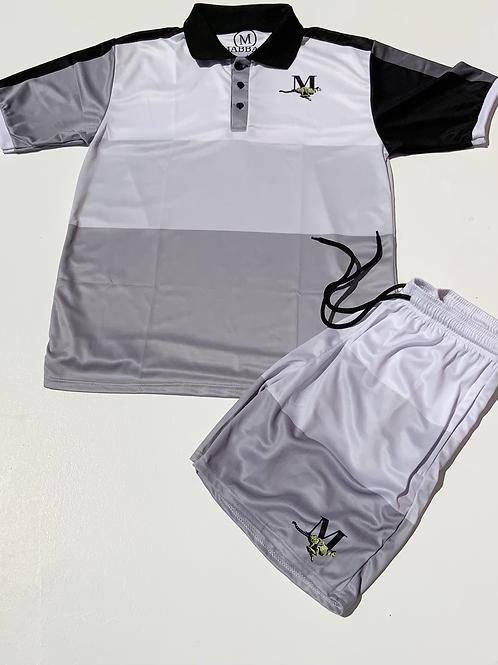 Grey/Black/White Men's Collared Striped Short Set