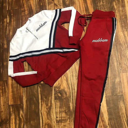 WOMEN'S WHITE/RED/NAVY STRIPE SET