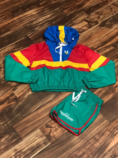 WOMENS RED/GREEN/YELLOW Windbreaker Set