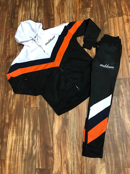 Women's 3 Tone White/Orange/Black Sweatsuit