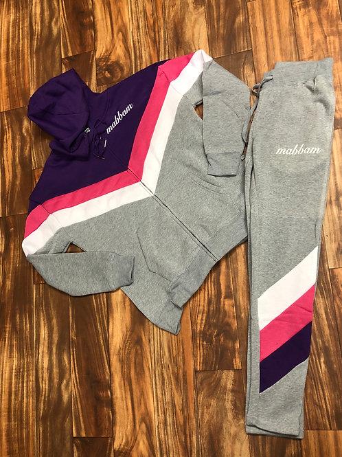 Women's Purple/Pink/White/Gray Sweatsuit