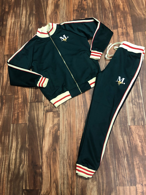 FOREST GREEN/RED X CREAM STRIPE TRACKSUIT