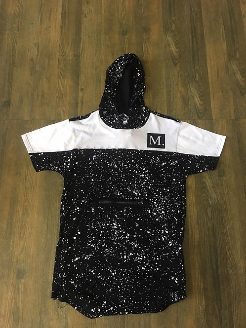 Black & White Short Sleeve Hoodie