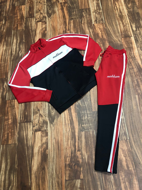 3 TONE RED/BLK/ WHITE STRIPE TRACKSUIT