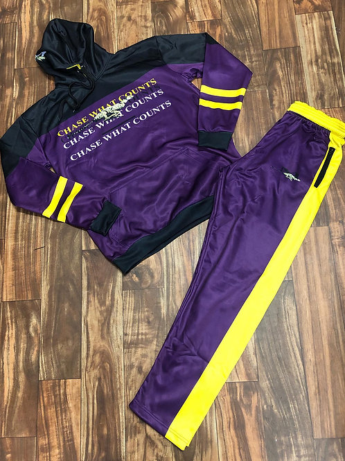 RUNNING CHEETAH TRACKSUIT - PURPLE/YELLOW/BLK
