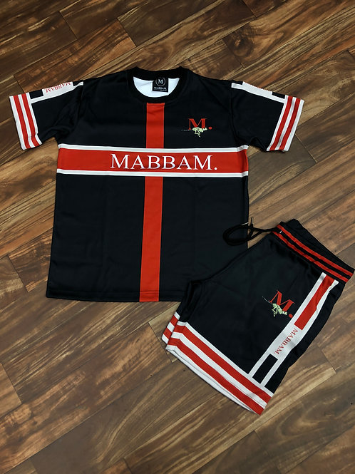 MENS RED/CREAM BLCK MARFINT STRIPE SHORT SET