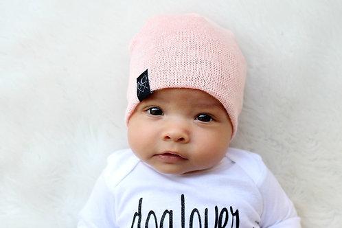 Sweater Knit Beanie - Heather Baby Pink