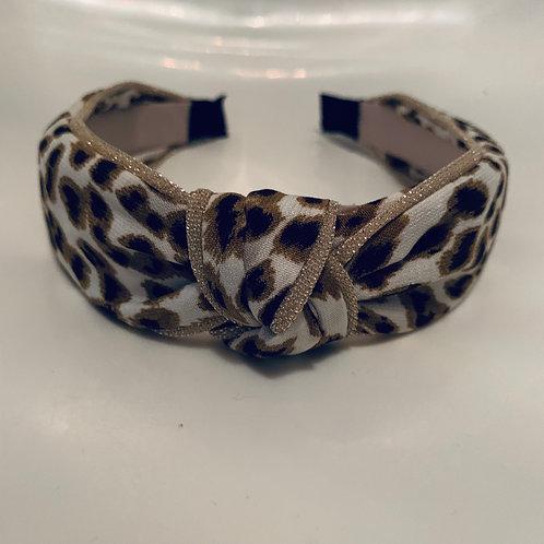Leopard Headband Gold Trim