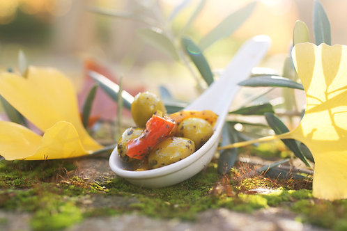 Olives Vertes au Poivron et basilic