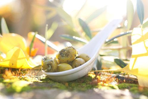 Olives Vertes à l'Ail et au Basilic