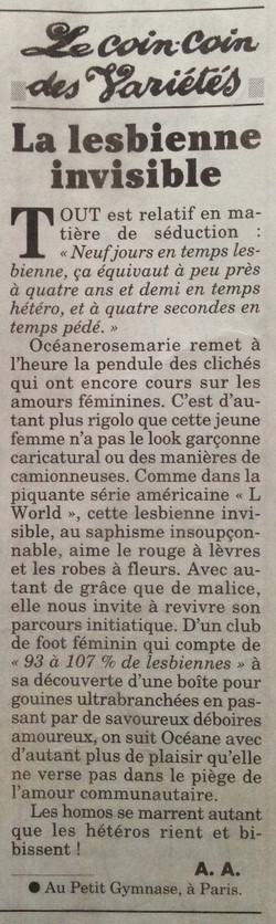 Canard Enchainé_Lesbienne Invisible