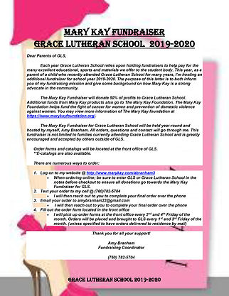 Mary Kay Fundraiser Letter to Parents (1