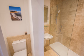 Bathroom at By the Harbour apartment, West Bay self catering, Dorset