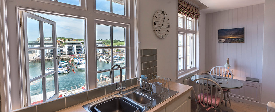 By the Harbour apartment, West Bay, Dorset, kitchen views of the harbour