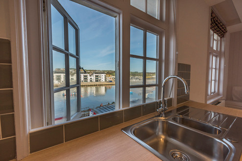 View from By the Harbour apartment kitchen, West Bay self catering, Dorset