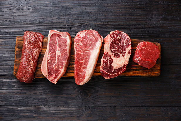 Variety of Raw Black Angus Prime meat st