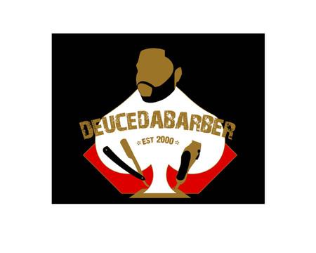 Deucedabarber Logo - white - black bkgjp
