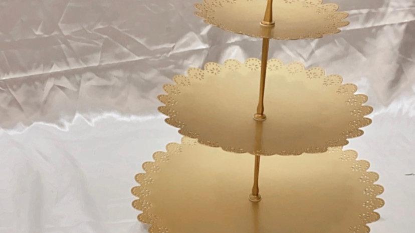 3 Tier Gold Dessert Stand