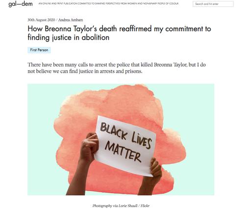 Abolition Op-ed published in gal-dem zine