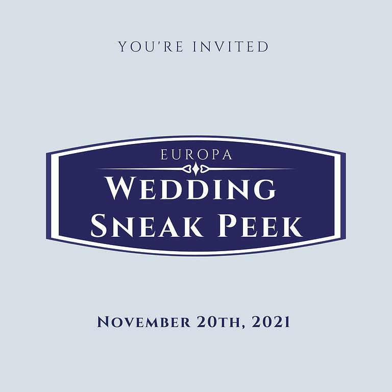 Europa Wedding Sneak Peek November  20th 2021