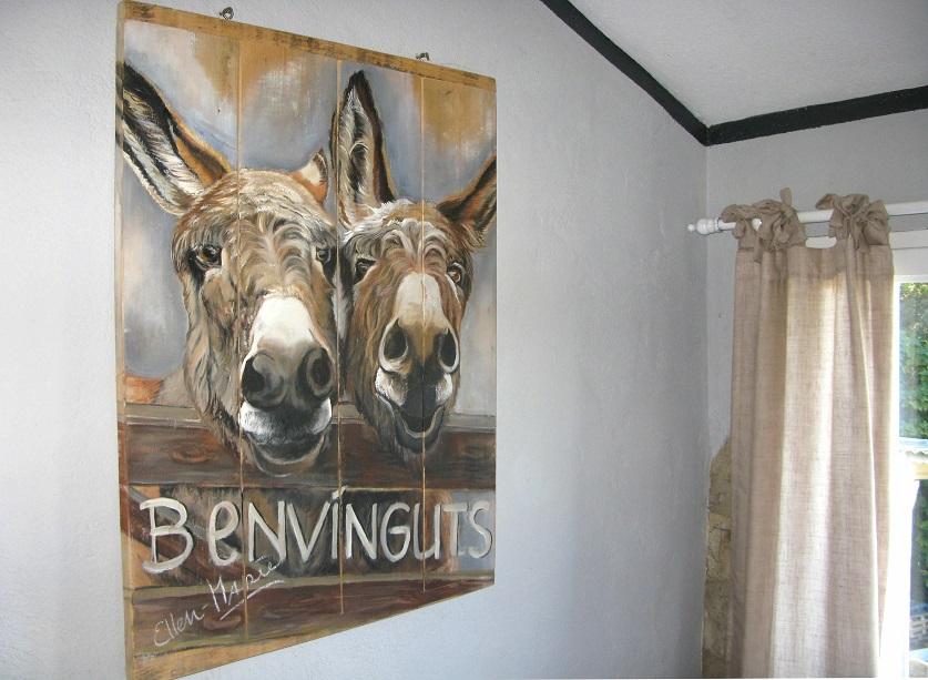ezel schilderij op hout