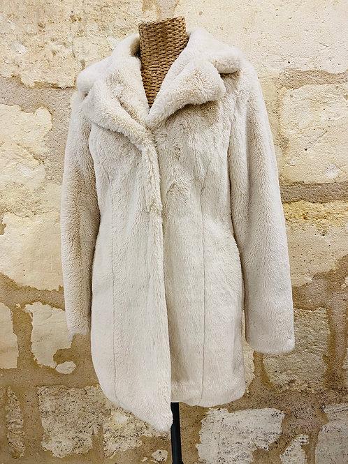 Manteau goosecraft blanc crème fourrure intérieur léopard TS