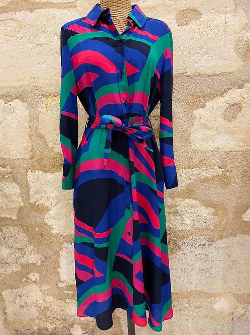 Robe tara Jarmon bleu verte rose rouge T40