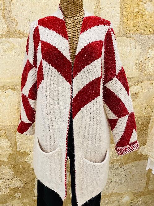 Sunshineforlaeti - Gilet Maje rouge et blanc 39% laine 12% alpaga T2
