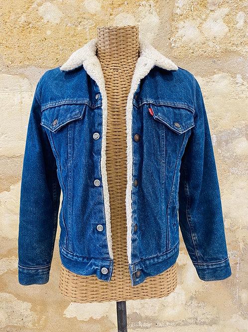 Veste en jean bleu polaire blanche intérieure T16