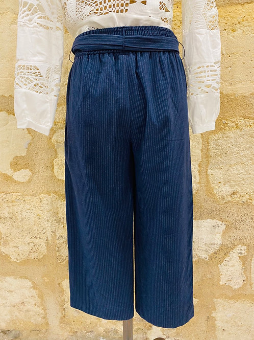 Pantalon Zara bleu rayé blanc TS