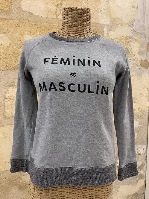 Sweat-shirt Sézane gris «feminin et masculin» - Txs