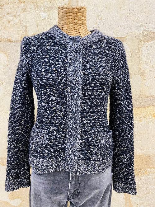 Gilet Comptoir des Cotonniers gris noir doré 22% laine 8% Mohair TM